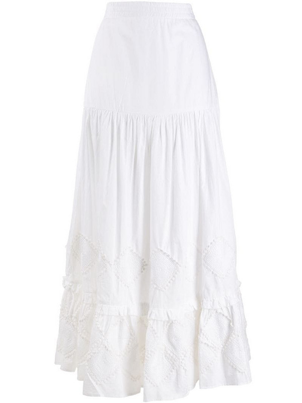 Chufy maxi tiered skirt in white
