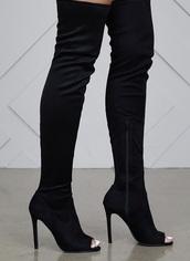 shoes,black,thigh high boots,heels,stilettos
