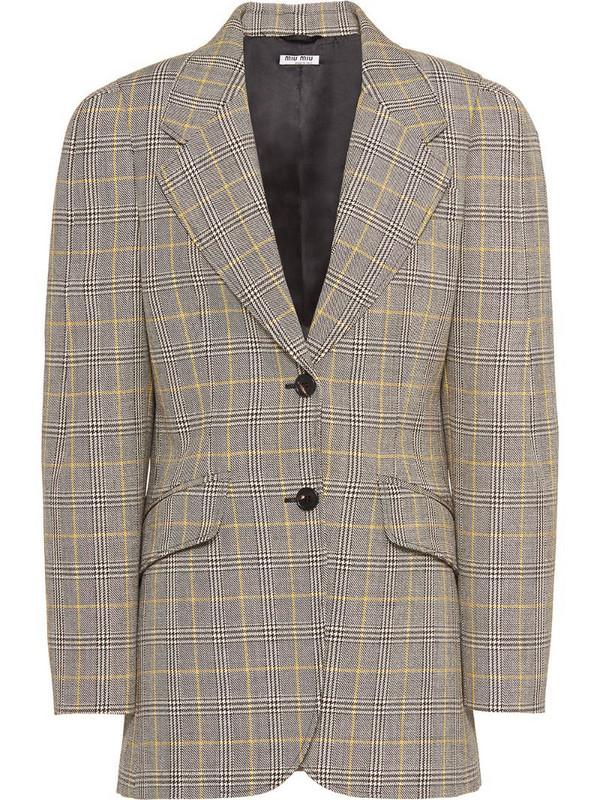 Miu Miu compact Prince of Wales check blazer in brown