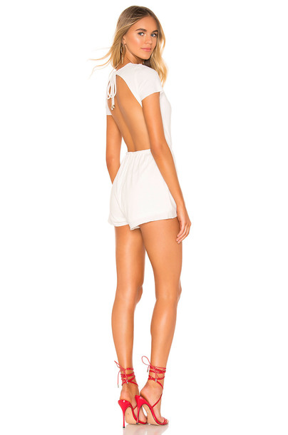 superdown Laney Drawstring Romper in white
