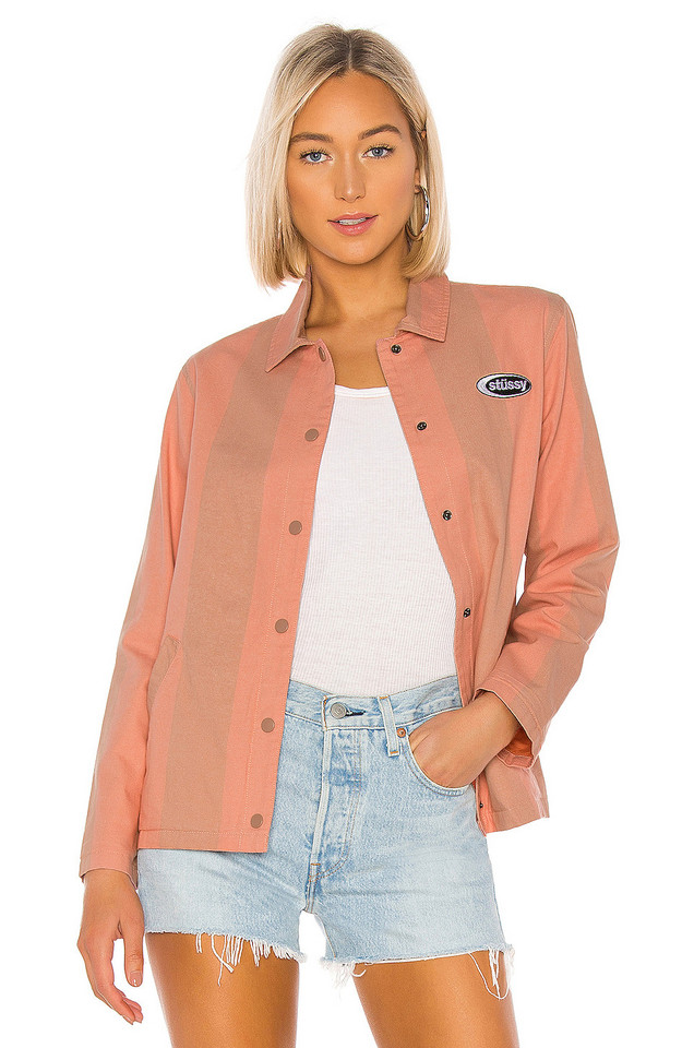Stussy Etta Striped Coach Jacket in pink
