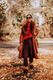 hallie daily,blogger,coat,sweater,pants,bag,gloves,winter outfits,fall outfits,fall colors,rust coat,fur collar coat