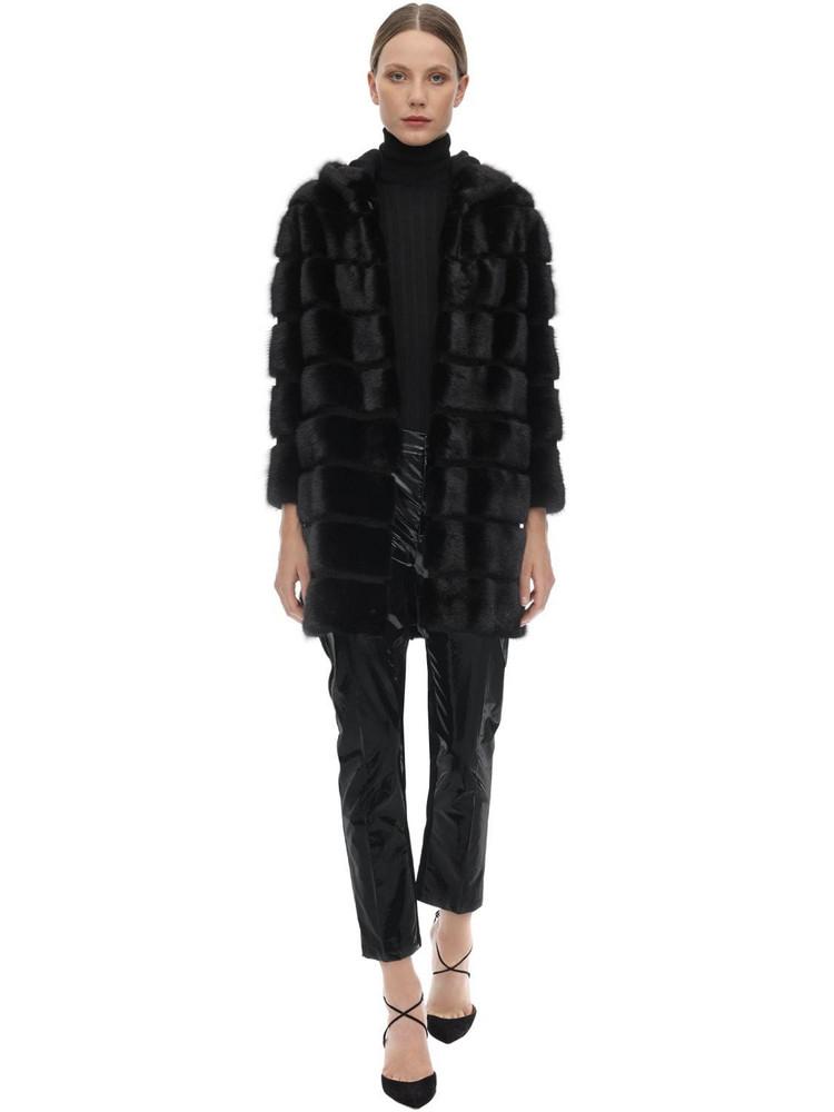 SIMONETTA RAVIZZA Zipped Mink Coat W/ Hood in black