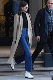 coat,boots,denim,jeans,kaia gerber,model off-duty,fall outfits