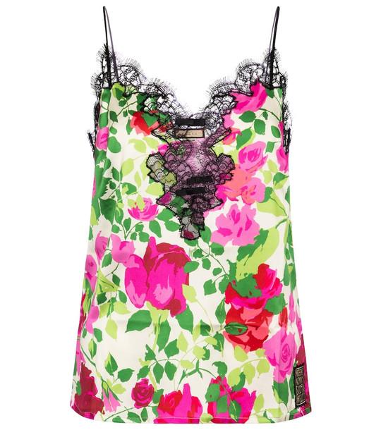 Gucci x Ken Scott floral stretch-silk camisole in pink