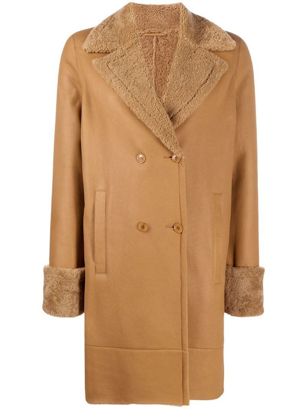 Inès & Maréchal shearling lined coat in brown
