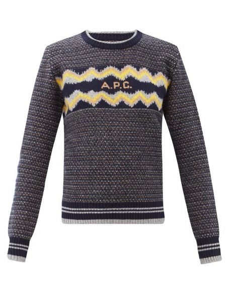 A.P.C. A.P.C. - Adele Logo-jacquard Wool Sweater - Womens - Navy Multi