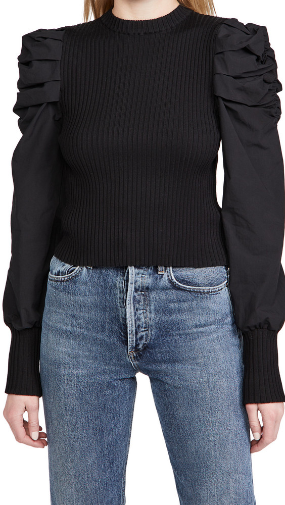 En Saison Mixed Media Puffed Sleeve Top in black