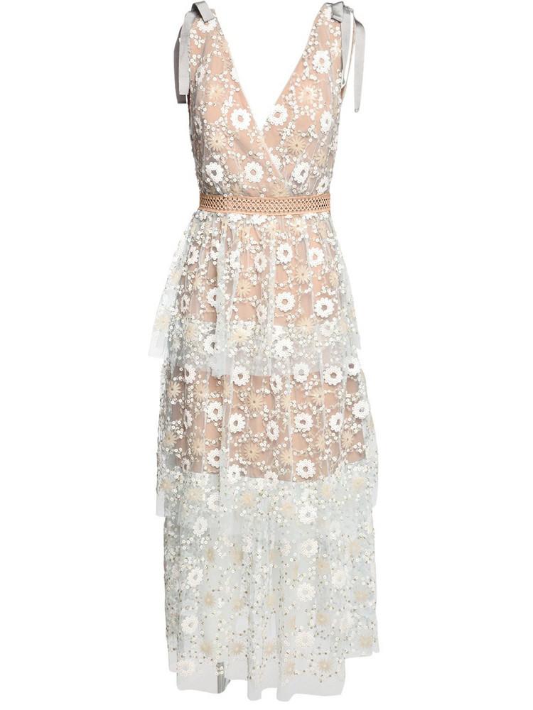 SELF-PORTRAIT Floral Sequin Lace Midi Dress in white