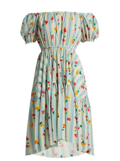 Caroline Constas - Striped Floral Print Cotton Blend Dress - Womens - Blue White