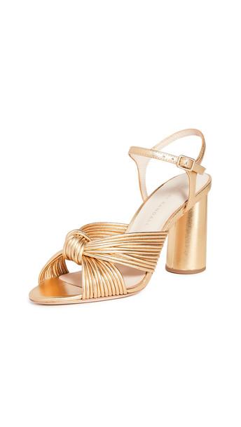 Loeffler Randall Cece High Heel Knot Ankle Strap Sandals in gold