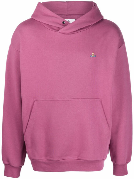 Vivienne Westwood embroidered-logo pullover hoodie - Pink