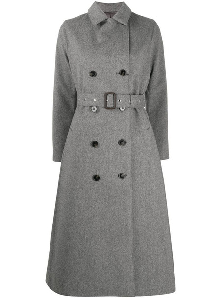 Mackintosh double-breasted wool coat in grey