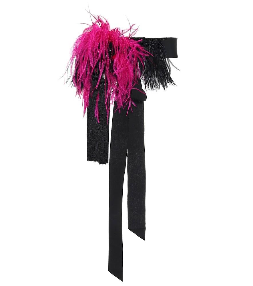 Dries Van Noten Feather-trimmed belt in black