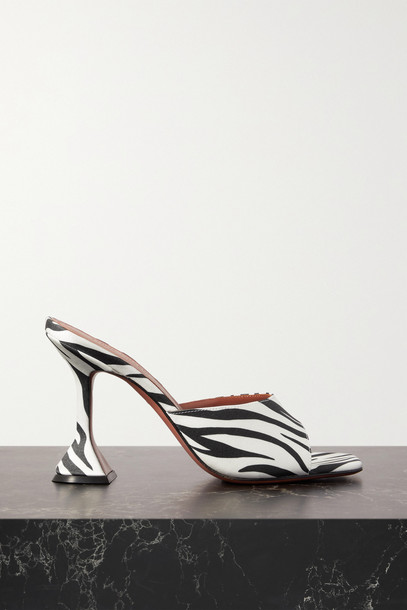 Amina Muaddi - Lupita Zebra-print Satin Mules - Animal print