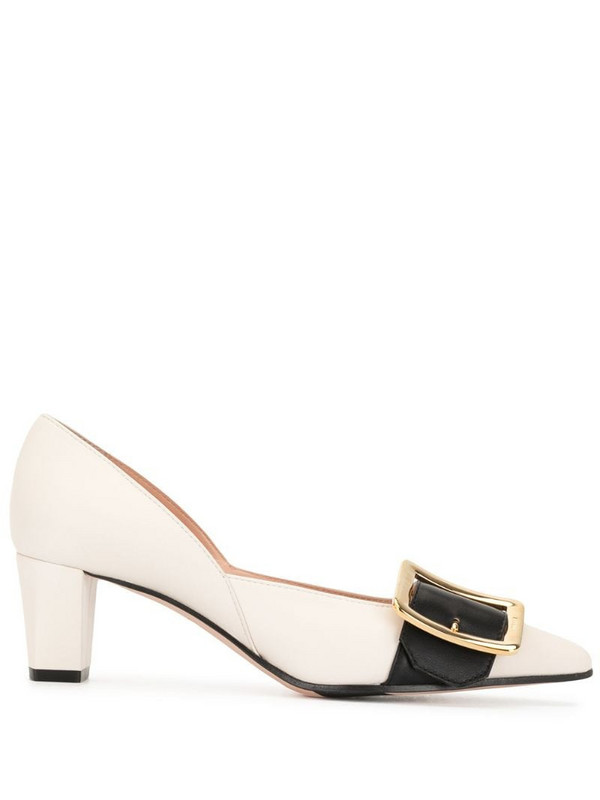Bally buckle-detail heeled pumps in white