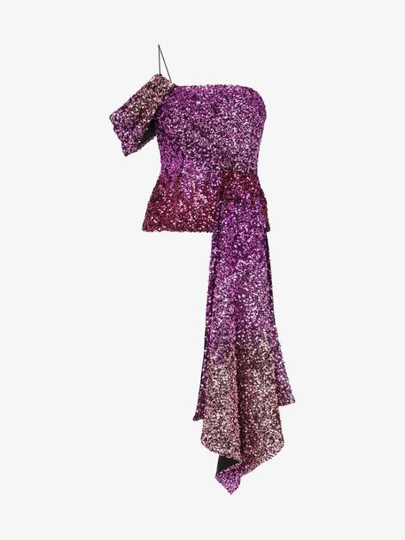 Halpern one shoulder draped sequin top in pink