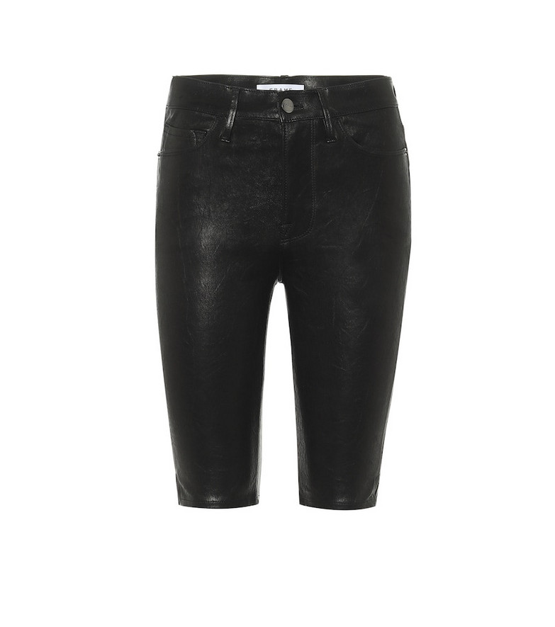 Frame Leather shorts in black