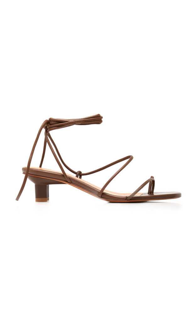 LoQ Roma Leather Lace-Up Sandals in brown