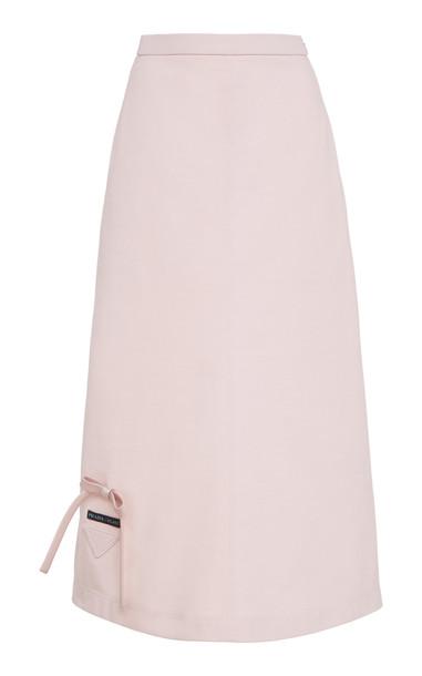 Prada Bow Detail Midi Skirt in pink
