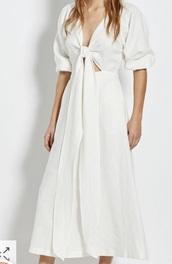 dress,tie front,bloomingdales,white dress