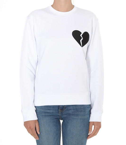 Msgm Logo Broken Heart Sweatshirt in white
