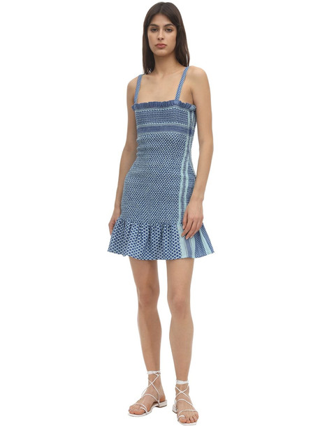 CECILIE COPENHAGEN Judith Smocked Cotton Mini Dress in blue