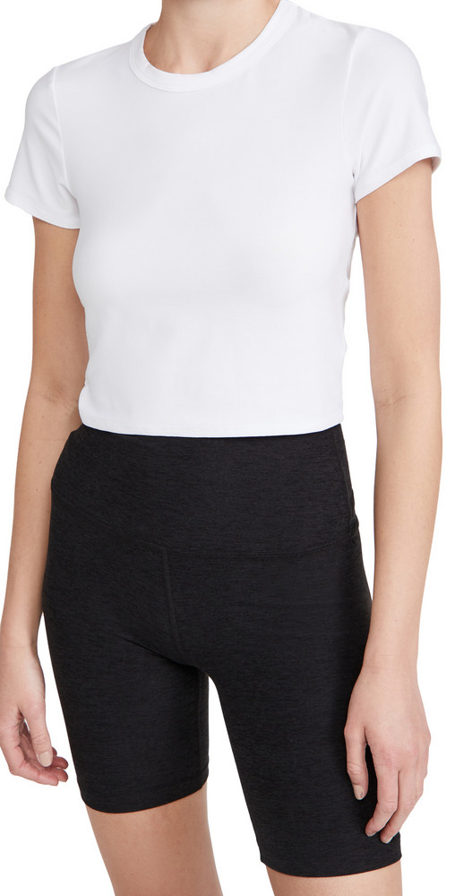 Beyond Yoga Ruched Down Cropped Tee in white