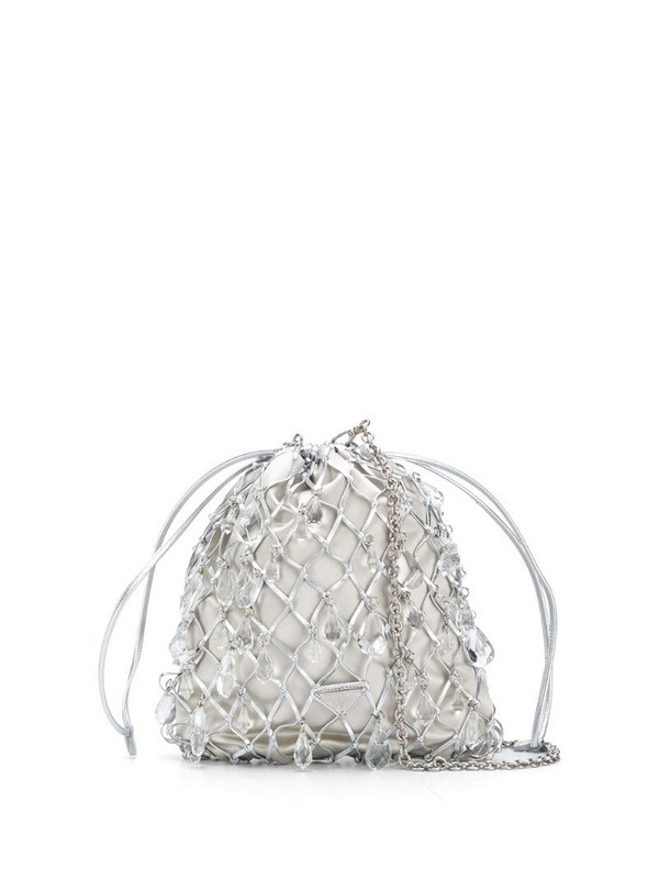 Prada leather mesh and satin clutch in grey