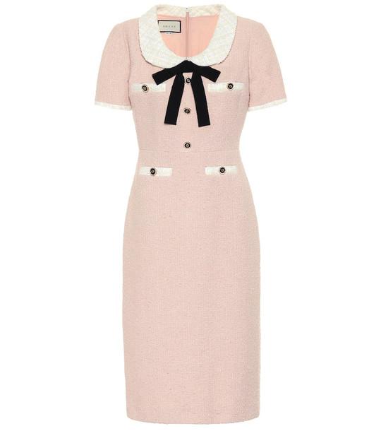 Gucci Cotton-blend tweed midi dress in pink