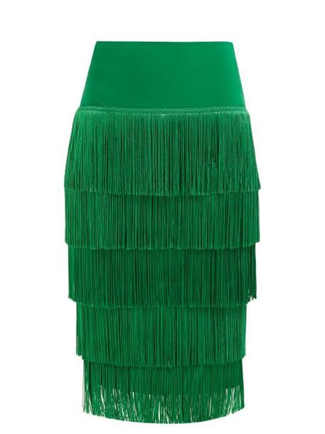 Norma Kamali - Tiered Fringe Stretch Jersey Pencil Skirt - Womens - Green