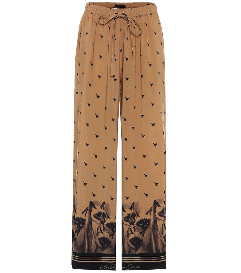 Undercover Printed drawstring pants in brown