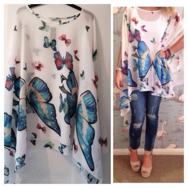 top loose baggy butterfly butterfly white blue red nature print summer outfits