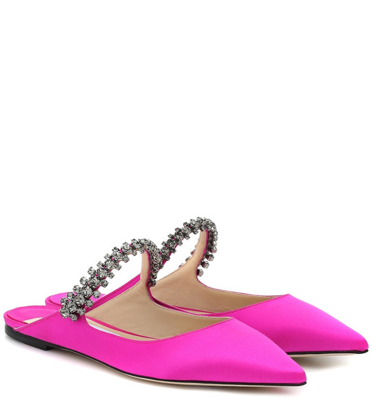 Jimmy Choo Exclusive to Mytheresa – Bing Flat satin slippers in pink