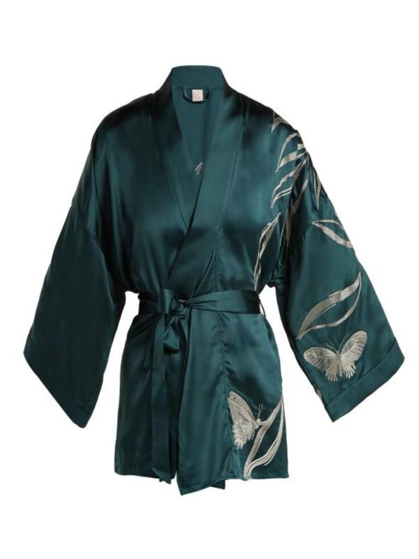 MORPHO + LUNA Morpho + Luna - Bella Foliage Embroidered Satin Kimono Robe - Womens - Dark Green