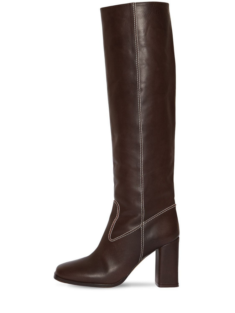 MARYAM NASSIR ZADEH 85mm Roma Tall Leather Boots in brown