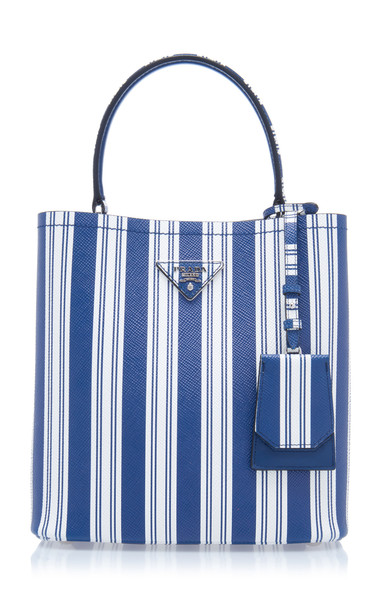 Prada Striped Leather Tote Bag in blue