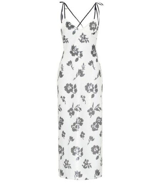 Self-Portrait Floral sequined midi dress in white