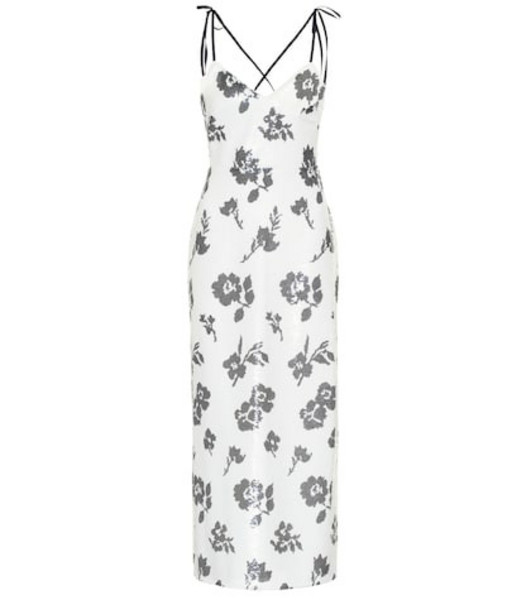 Self-Portrait Floral sequined midi dress in white