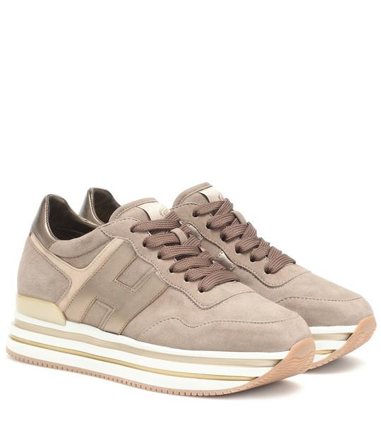 Hogan H222 suede flatform sneakers in beige