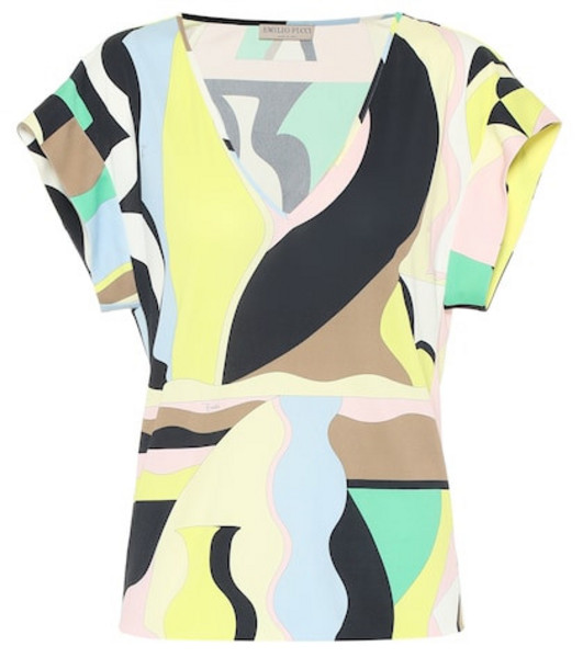 Emilio Pucci Printed jersey top in yellow
