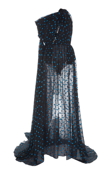 Dundas Polka Dot Draped Maxi Dress in multi
