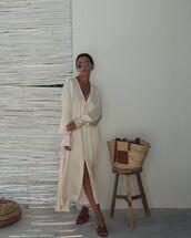 dress,asymmetrical dress,midi dress,long sleeve dress,slide shoes,loewe bag