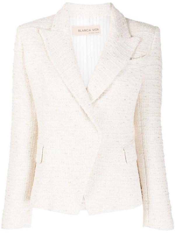 Blanca Vita tweed single breasted blazer in white