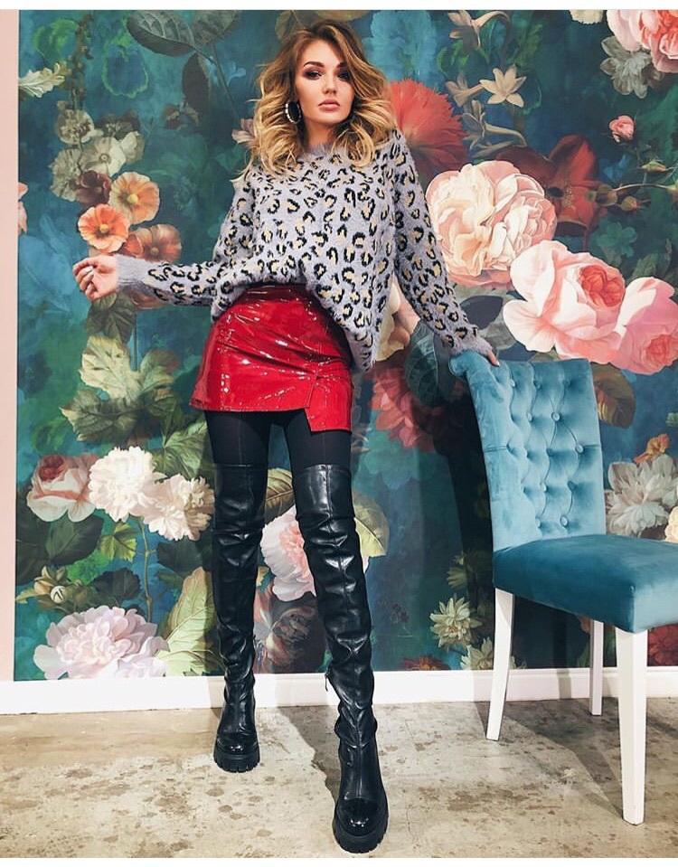 skirt red vinyl lacquer