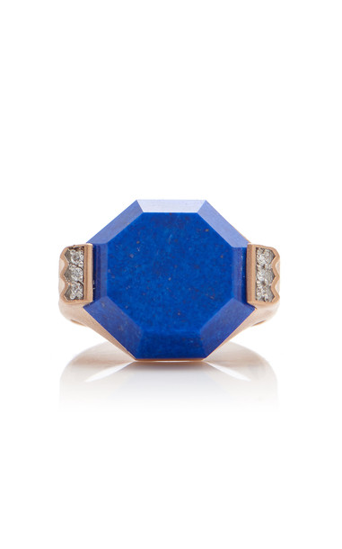 Melis Goral 14K Gold, Lapis And Diamond Ring Size: 7 in blue