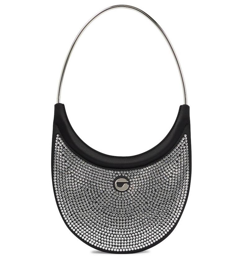 Coperni Ring Swipe leather embellished shoulder bag in black