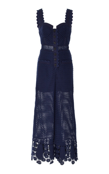 Self Portrait Fishnet Lace Jumpsuit Size: 8 in navy