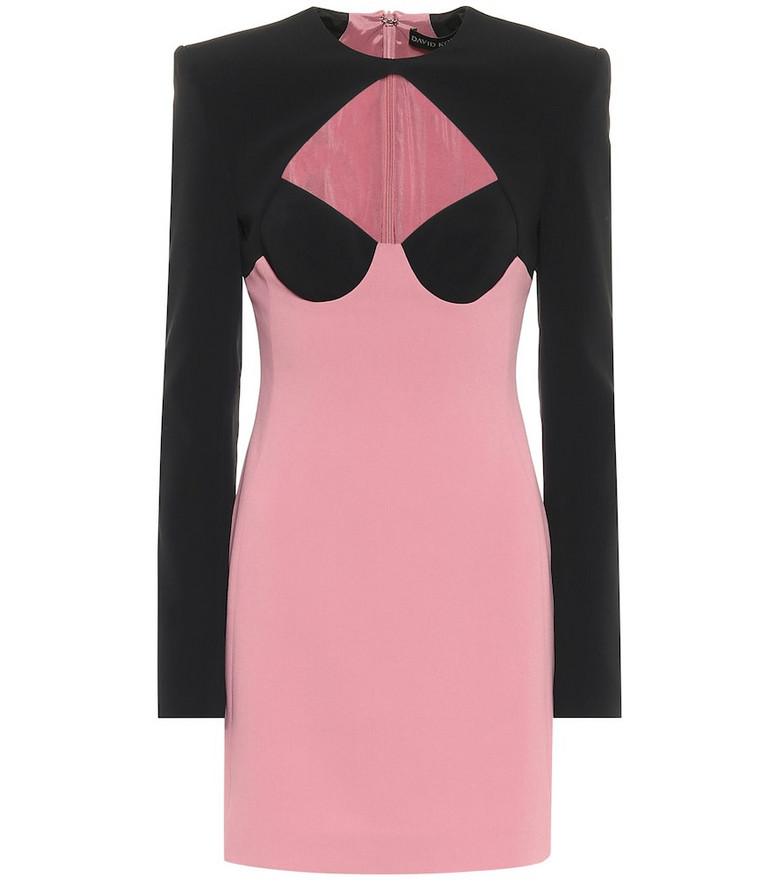 David Koma Cutout cady minidress in pink