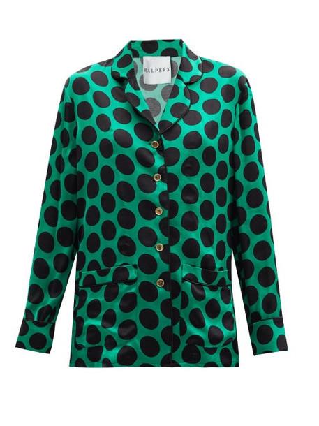 Halpern - Polka-dot Satin Shirt - Womens - Green Print